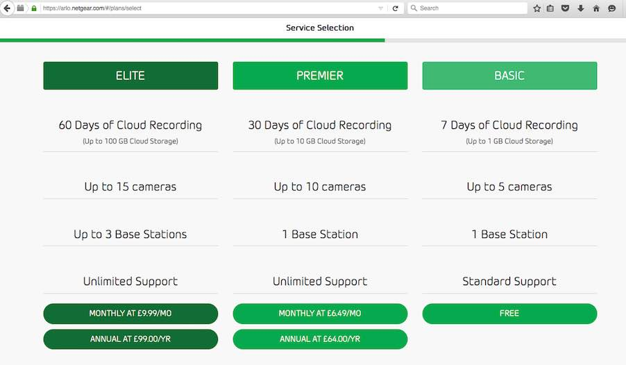 arlo service selection page
