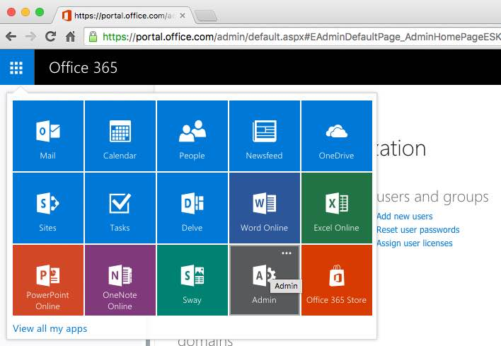 admin console in office 365