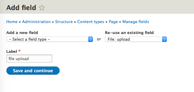 add drupal 8 page field file upload step1