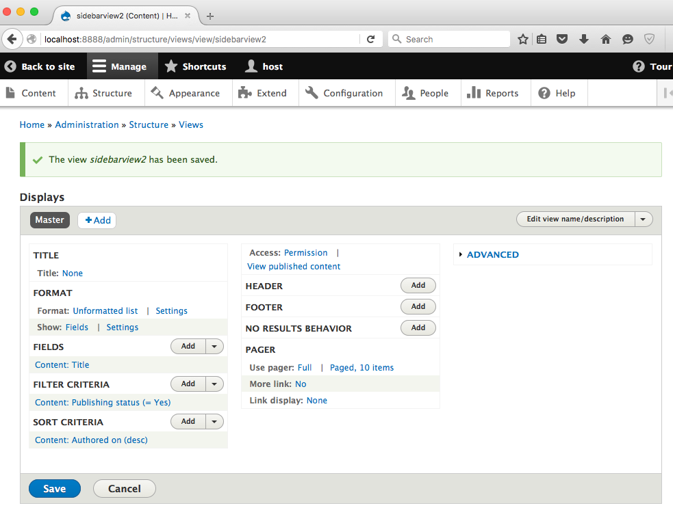 add drupal 8 view step 4