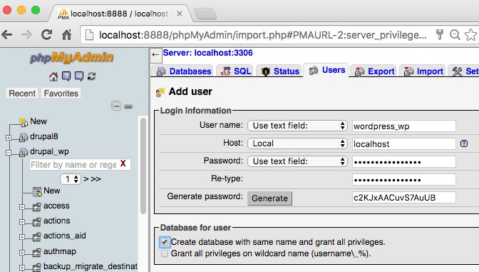 phpmyadmin create user with grant privileges