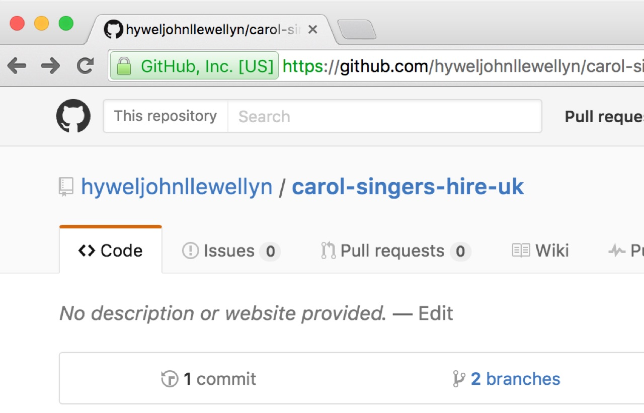 GitHub Repository select the 2 branches