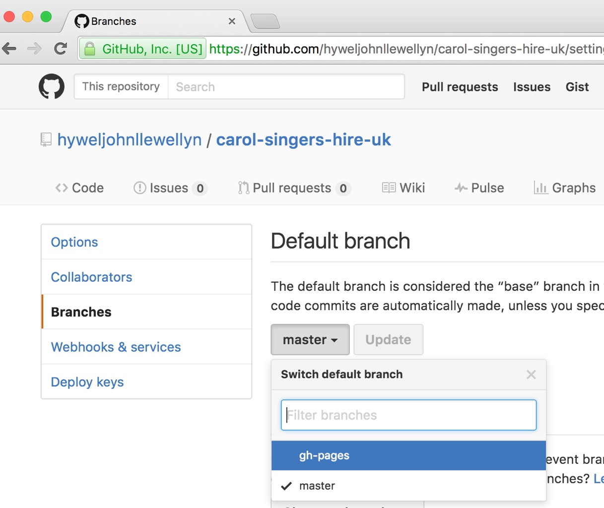 GitHub repository select default branch