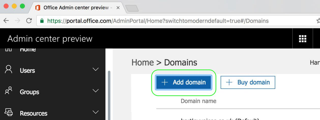2.3 Click Add Domain in Office 365