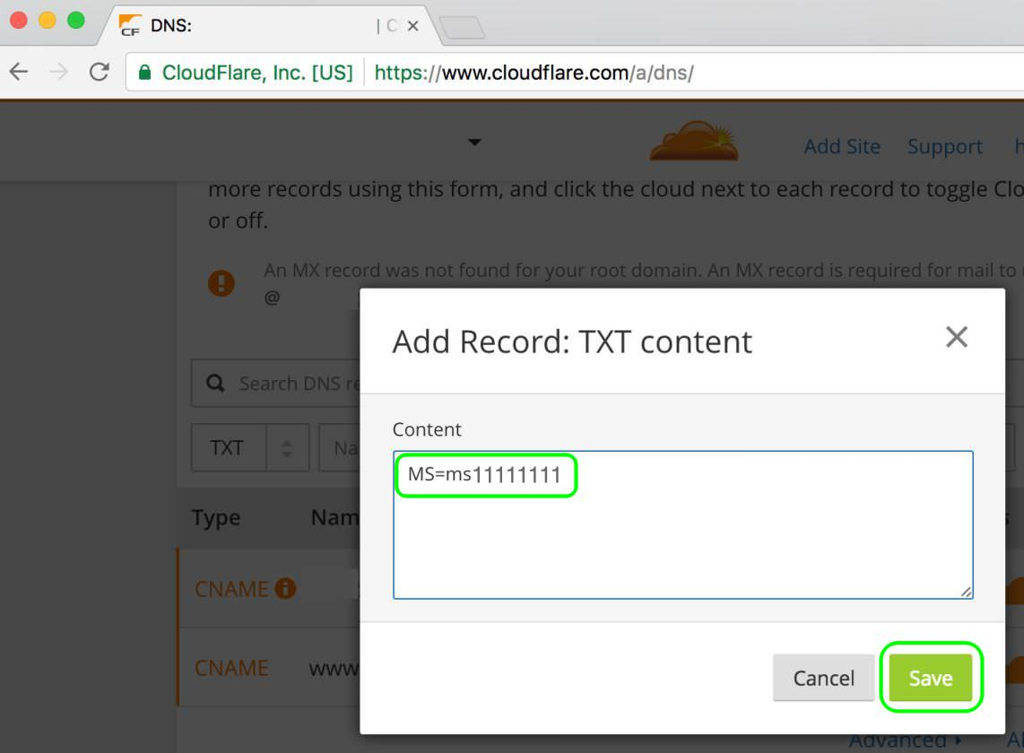 3.2 Paste the Office 365 TXT value - from Step 2.5 to TXT Content and Save