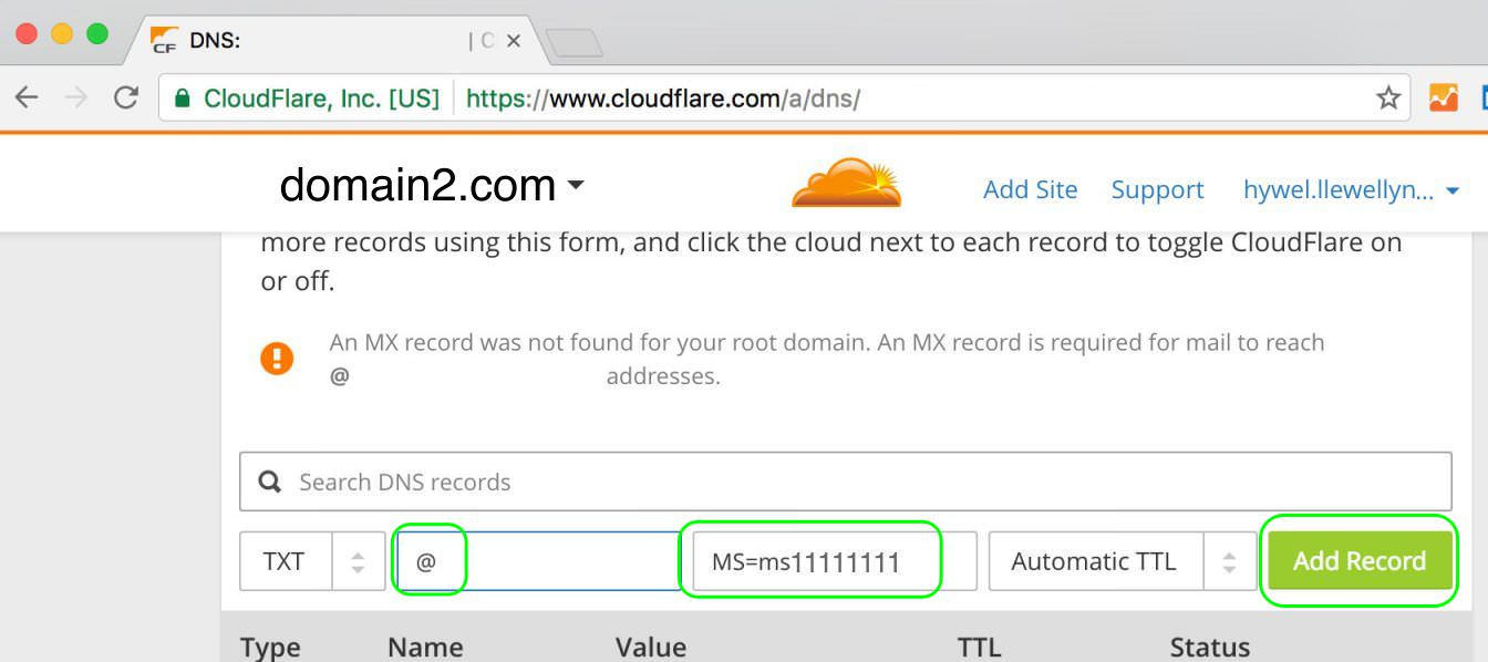 3.3 Click Add Record to add TXT for Office 365 domain validation