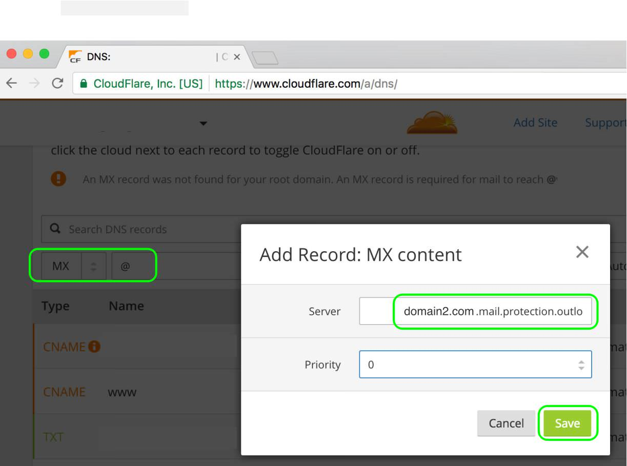 4.3 In CloudFlare select a new MX Record and paste the Office 365 mail protection