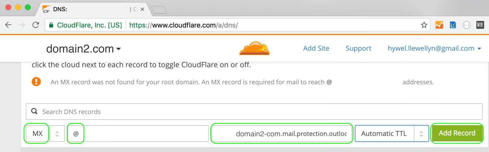 4.4 Click Add Record to add the MX record to CloudFlare