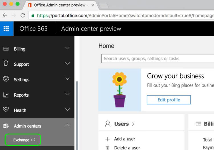 8.1 Under Office 365 Admin Centre Click Exchange