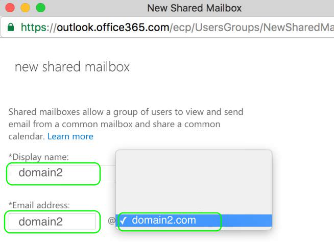 8.4 Enter the Display Name and Email Address for the new Domain Name domain2.com