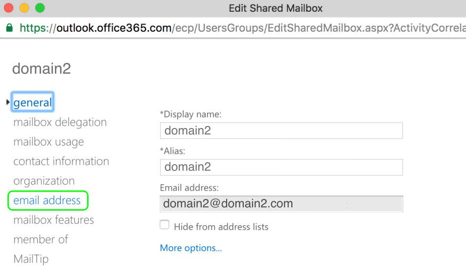 9.2 Click email address for the domain2.com shared mailbox