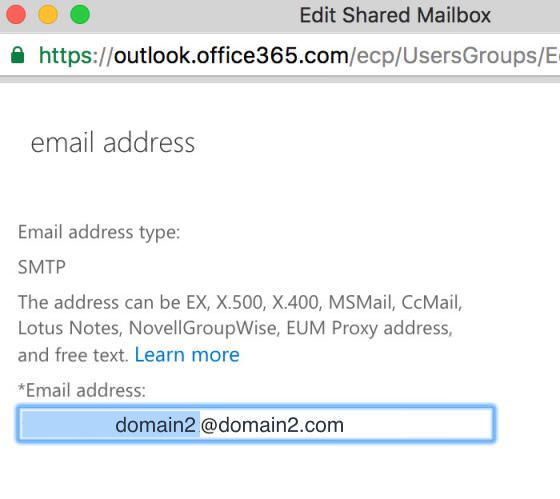 9.4 Update the email address from domain2@domain2.com